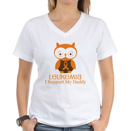 Daddy Leukemia Support Women's V-Neck T-Shirt