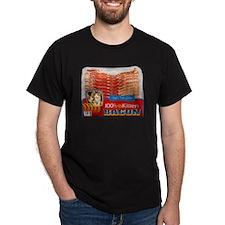 """Kitten Bacon"" Black T-Shirt"