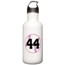 Softball Player Number 44 Water Bottle