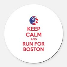 Keep calm and run for Boston Round Car Magnet
