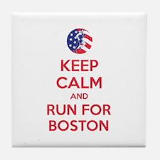 Keep calm and run for Boston Tile Coaster