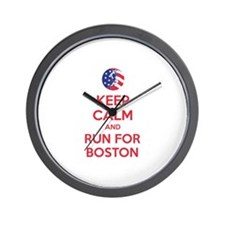 Keep calm and run for Boston Wall Clock