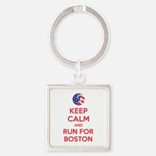 Keep calm and run for Boston Square Keychain