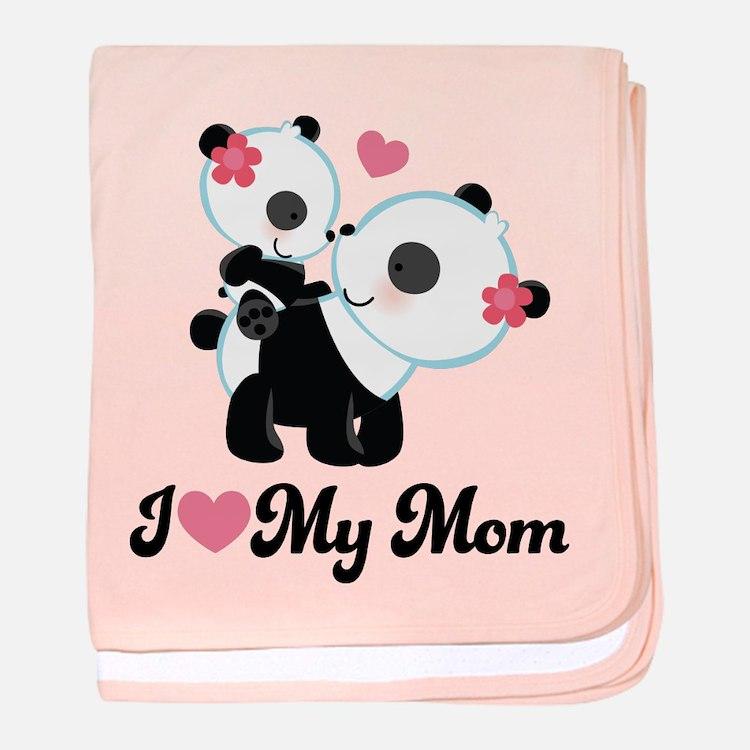 I Heart My Mom Pandas baby blanket