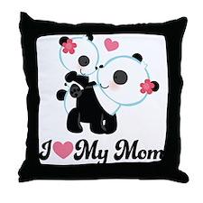 I Heart My Mom Pandas Throw Pillow