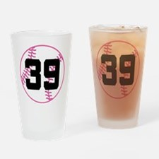Softball Player Number 39 Drinking Glass