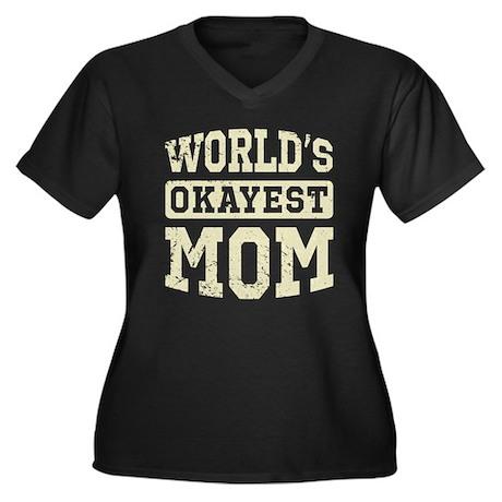 Vintage World's Okayest Mom Women's Plus Size V-Ne