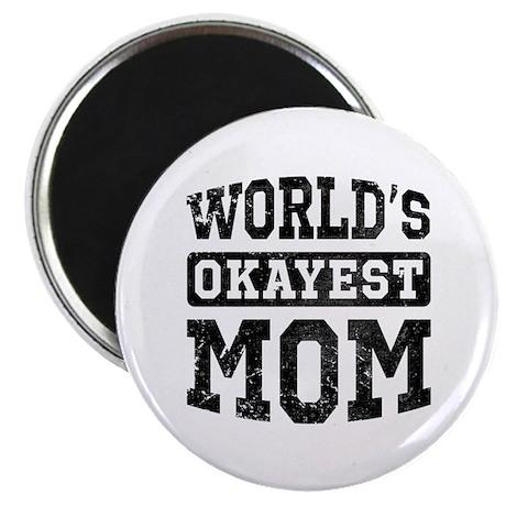 """Vintage World's Okayest Mom 2.25"""" Magnet (100 pack"""