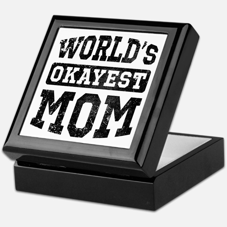 Vintage World's Okayest Mom Keepsake Box