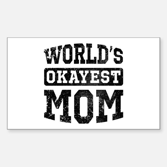 Vintage World's Okayest Mom Sticker (Rectangle)
