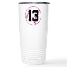 Softball Player Number 13 Travel Mug