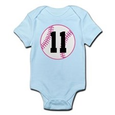 Softball Player Number 11 Infant Bodysuit