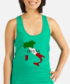 Italy Flag Map Racerback Tank Top