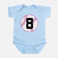 Softball Player Number 8 Infant Bodysuit