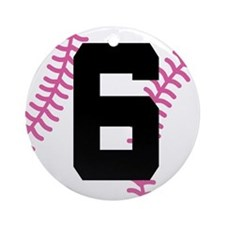 Softball Player Number 6 Ornament (Round)