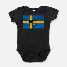 Swedish Soccer Elk Flag Baby Bodysuit