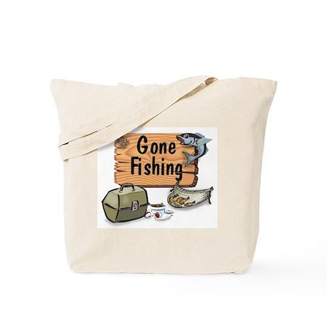 Gone Fishing Design Tote Bag