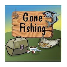 Gone Fishing Design Tile Coaster