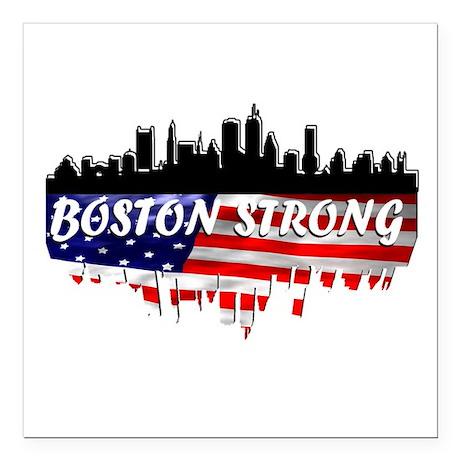 "Boston Strong Marathon Square Car Magnet 3"" x 3"""