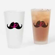 Moustache Gymnast Pink Drinking Glass