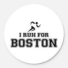 I RUN FOR BOSTON Round Car Magnet