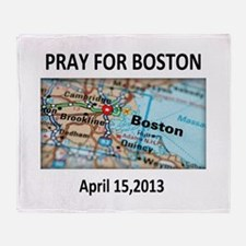 Pray For Boston Map Throw Blanket