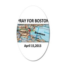 Pray For Boston Map 20x12 Oval Wall Decal