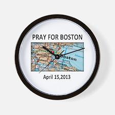 Pray For Boston Map Wall Clock