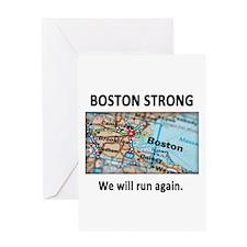Boston Strong Map Greeting Card