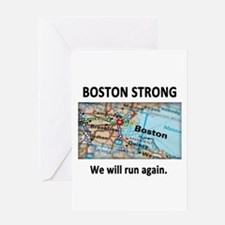 Boston Strong Map Greeting Card