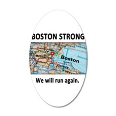 Boston Strong Map 35x21 Oval Wall Decal
