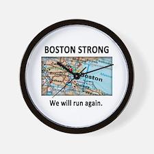 Boston Strong Map Wall Clock