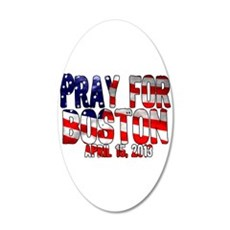 Pray For Boston Flag 20x12 Oval Wall Decal