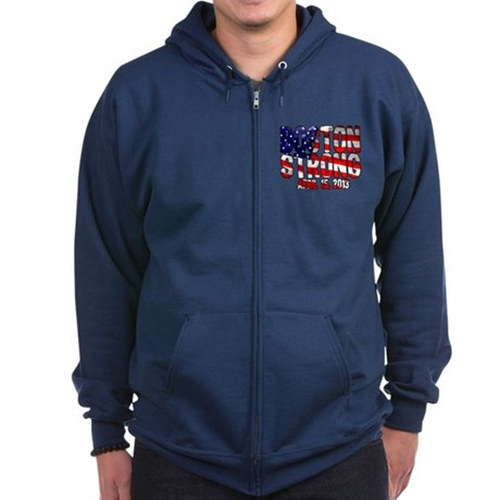 Boston Strong Flag Zip Hoodie (dark)