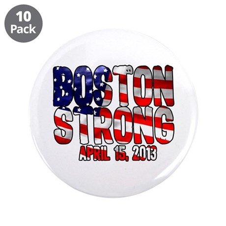 """Boston Strong Flag 3.5"""" Button (10 pack)"""