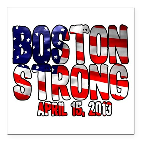 """Boston Strong Flag Square Car Magnet 3"""" x 3"""""""