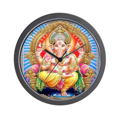 Ganesh on Throne Wall Clock