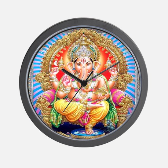 Ganesh on Throne Wall Clock