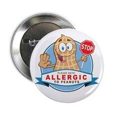 """Allergic to Peanuts 2.25"""" Button (100 pack)"""