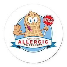 Allergic to Peanuts Round Car Magnet
