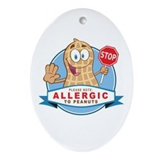 Allergic to Peanuts Ornament (Oval)