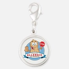 Allergic to Peanuts Silver Round Charm