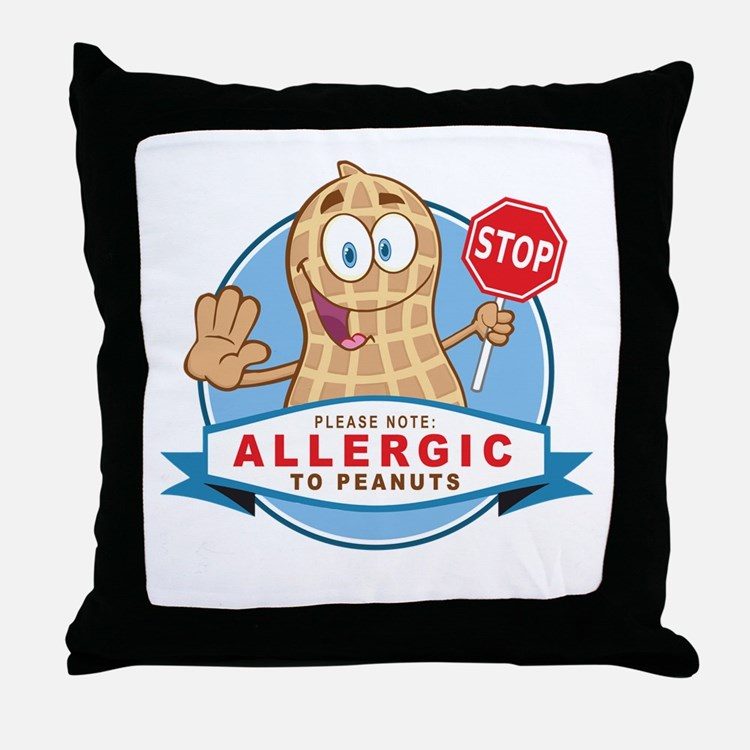 Allergic to Peanuts Throw Pillow