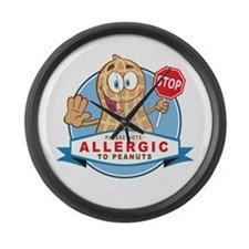 Allergic to Peanuts Large Wall Clock