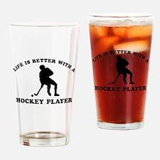 Hockey Player Designs Drinking Glass