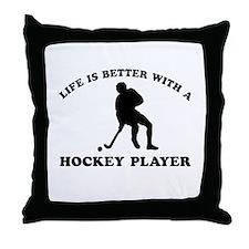 Hockey Player Designs Throw Pillow