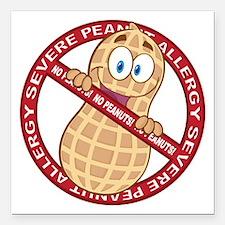 """Severe Peanut Allergy Square Car Magnet 3"""" x 3"""""""