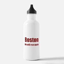 Boston: We will run again - red Water Bottle