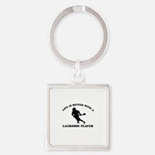 Lacrosse Player Designs Square Keychain