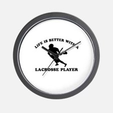 Lacrosse Player Designs Wall Clock
